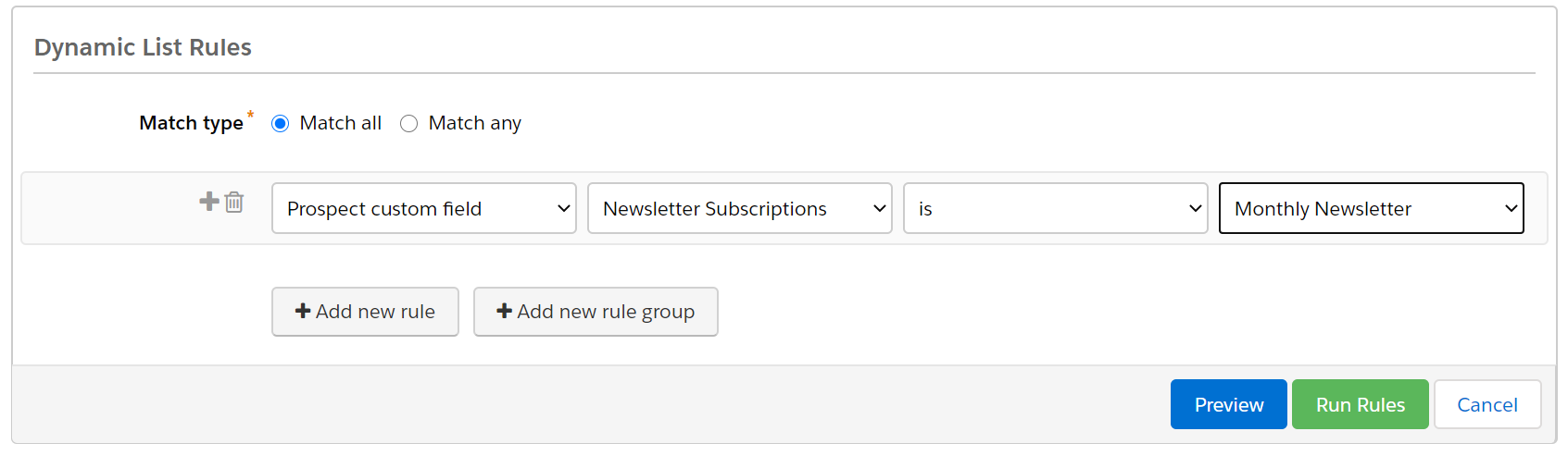 Dynamic list for Newsletter Subscription